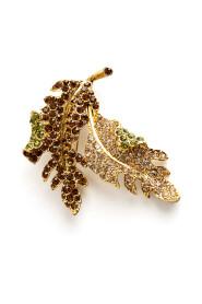 Sparkling leaf brooch
