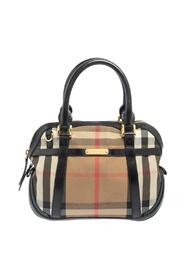 Pre-owned House Check Fabric and Leather Orchard Bowling Bag