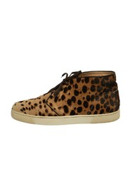 Leopard Print Calf Hair Lace Up Sneakers
