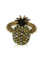 Gold  Embellished Crystal Pineapple Ring Size M Never Worn