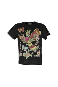 T-shirt with flowers and parrot print
