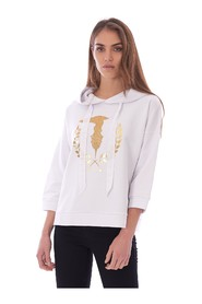 TRUSSARDI JEANS SWEATSHIRT WITH HOOD AND LOGO
