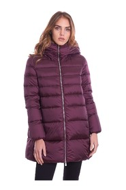 LONG QUILTED DOWN JACKET ADD FLARED WITH HOOD