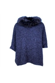 PONCHO WITH RACCON REAL FUR NAVY
