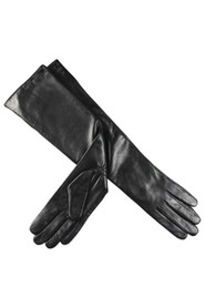 Long leather gloves with wool lining Black