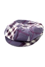 Purple Checkered Wool Beret