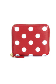 Red leather and white polka dots wallet