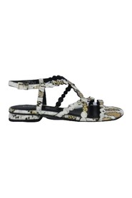 SANDAL CROSS STRIPES STAMP PYTHON HEEL