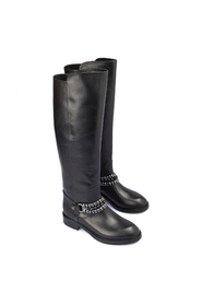 Metal chain leather boots