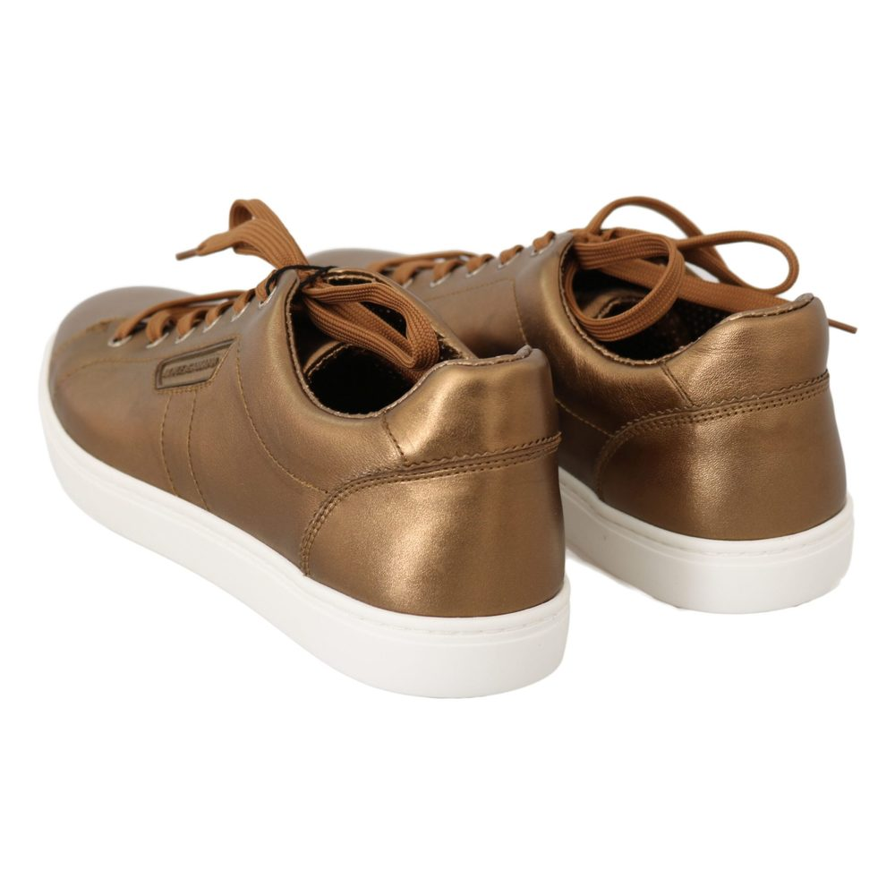 Gold Leather Mens Casual Sneakers   Dolce & Gabbana   Sneakers   Men's shoes
