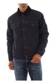 LEVIS 79721 0001 SHERPA TRUCKER JACKET AND JACKETS Men DENIM DARK BLUE