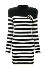 STRIPED VELVET-EFFECT DRESS