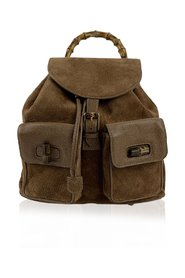Suede Leather Bamboo Backpack