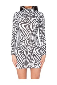 Zebra Print High Neck Bodycon Dress