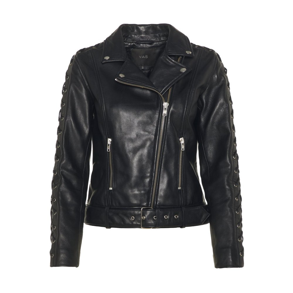 Leather jacket Braided sleeve detailed