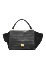 Embossed Trapeze Leather Satchel