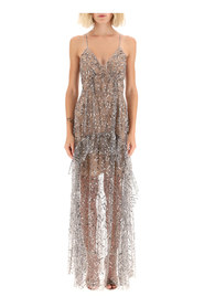 long sequined tulle dress