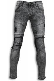 Exclusieve Biker Jeans - Slim Fit Biker Knees With Paint Drops Jeans