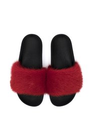 MINK FUR SLIPPERS RED