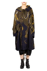 Marble Pattern Hooded Coat