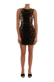 Leopard Print Silk Sheath Dress