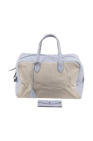 Bicolor Canvas and Leather Carry On Bag Weekender