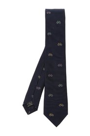 Bicycle-embroidered tie