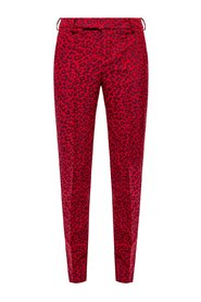 Patterned trousers with tapered legs