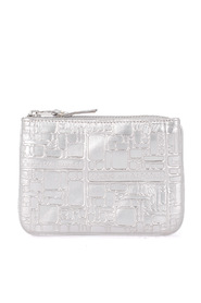 Wallet silver printed leather purse