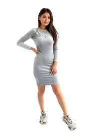 Dopasowana sukienka MIDI z weluru