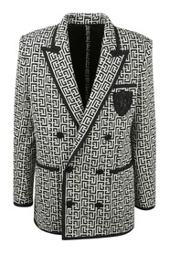 jersey blazer with monogram and double-breasted buttoned fastening