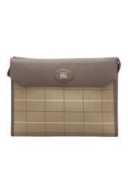 Plaid Canvas Clutch Bag