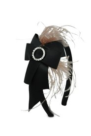 Feather and Bow with Crystal Hairband