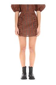 Seersucker check mini skirt