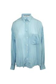 begagnad randig oversized skjorta med ryggöppning