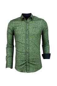 Heren Overhemd Plantenprint - Slim Fit Blouse Mannen