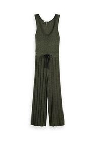 Grön glimmer Maison Scotch stickad lurex jumpsuit