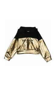 Metallic logo print hoodie