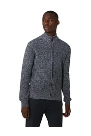 Regular fit zip up wool and cashmere cardigan