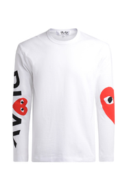 Crewneck T-shirt with vertical Play logo and maxi heart