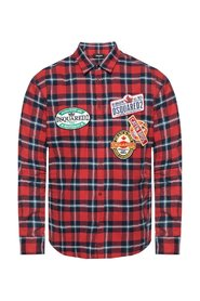 Check shirt with patches