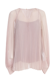 PLEATED BLOUSE CREW NECK