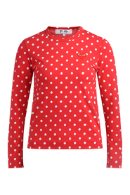T-shirt Play rossa a pois bianchi