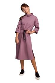 Sukienka midi z ozdobnym wiązaniem z przodu