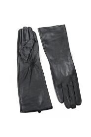 Rękawiczki długie skórzane ze ściągaczem