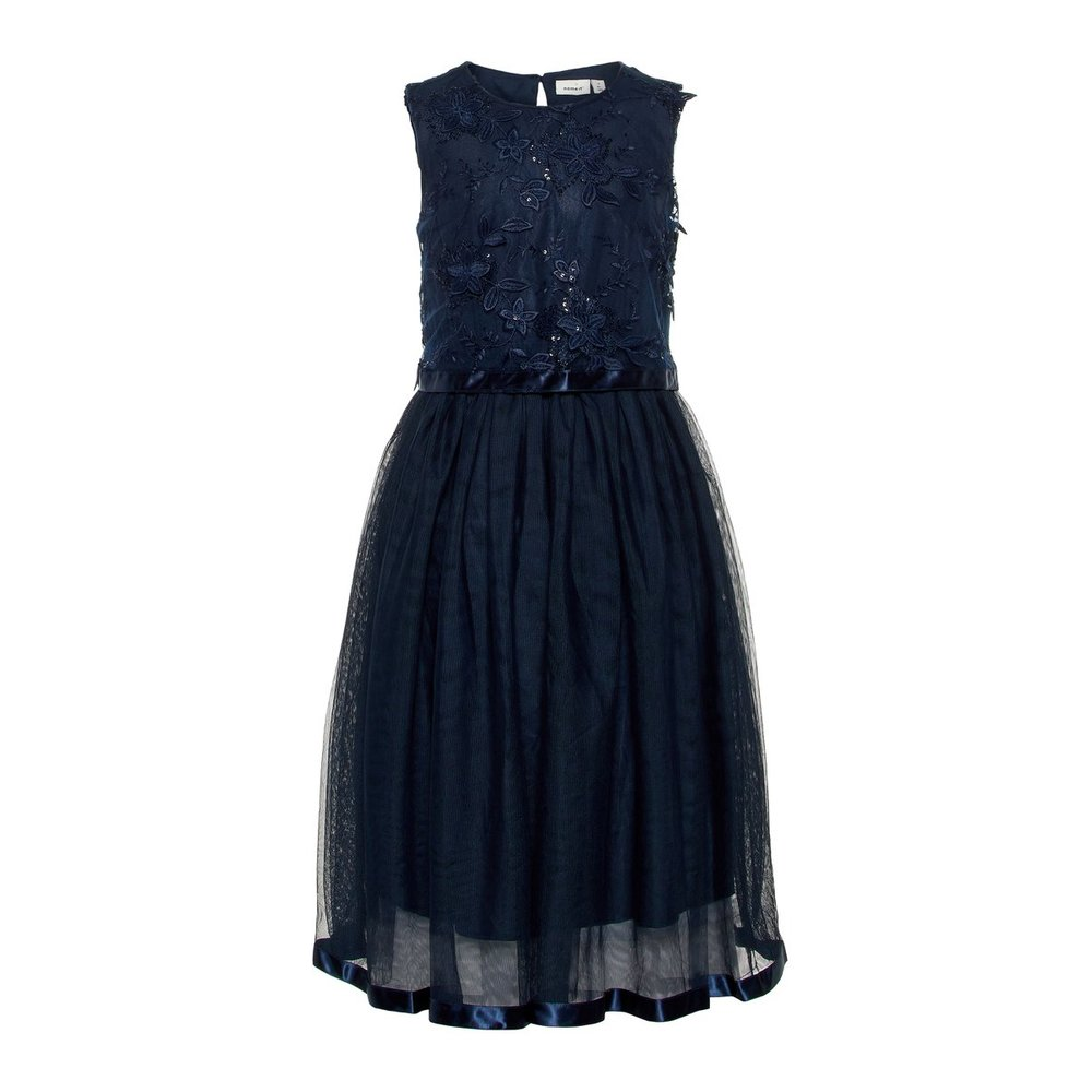 Dress long floral embellished tulle