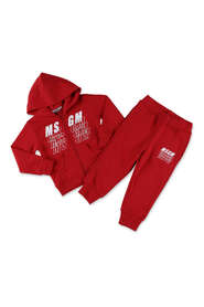 MSGM completo rosso in felpa di cotone con felpa e pantaloni|MSGM red cotton sweatshirt and sweatpants tracksuit set