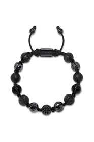 Beaded Bracelet with Black CZ Diamond, Lava Stone, Matte Onyx and Agate