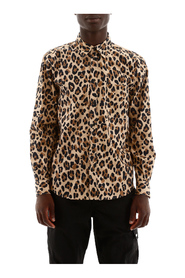 Leopard-printed shirt with logo