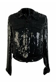Black Allover Sequin Jacket Jeans Style Size S